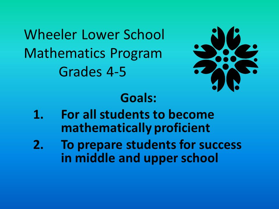 Wheeler Lower School Mathematics Program Grades 4-5 Goals: 1.For all students to become mathematically proficient 2.To prepare students for success in middle and upper school