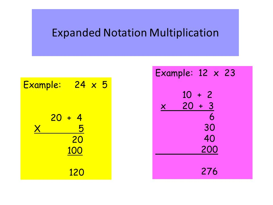 Example: 24 x X Expanded Notation Multiplication Example: 12 x x