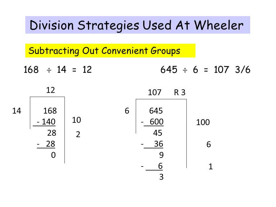 Division Strategies Used At Wheeler 168 ÷ 14 = ÷ 6 = 107 3/ R 3 Subtracting Out Convenient Groups