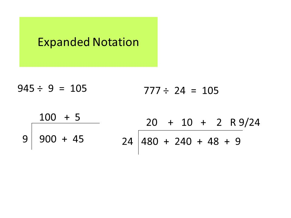 Expanded Notation 945 ÷ 9 = ÷ 24 = R 9/24
