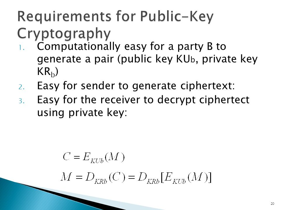 1. Computationally easy for a party B to generate a pair (public key KU b, private key KR b ) 2.