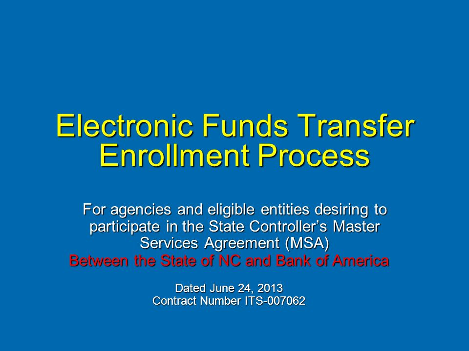 Electronic Funds Transfer Enrollment Process For Agencies And