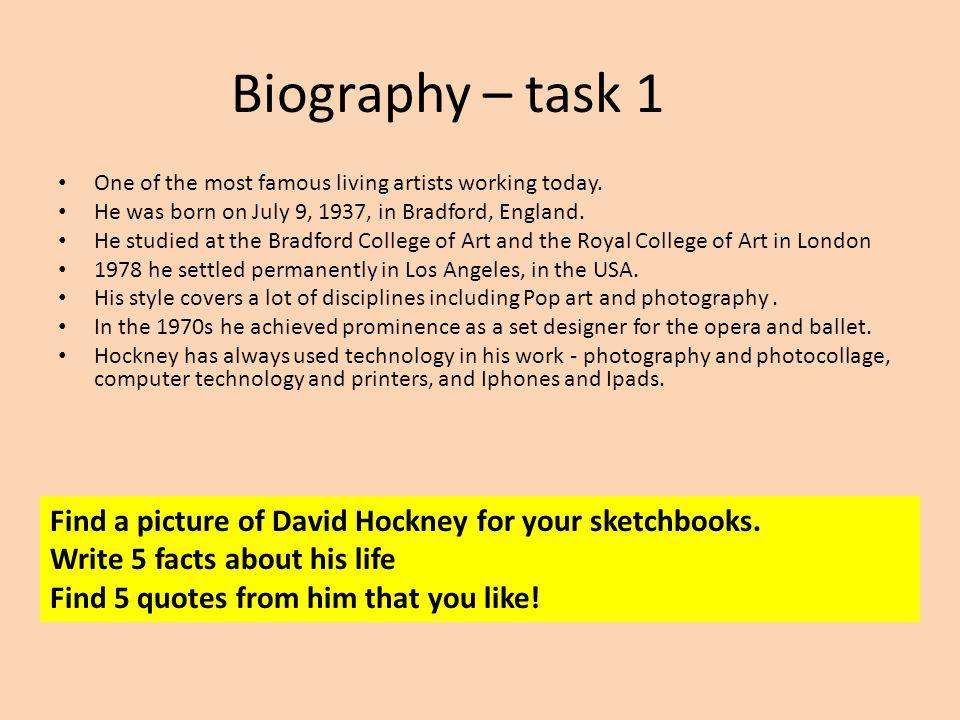 David Hockney Photos, reflections and splashes  Biography – task 1