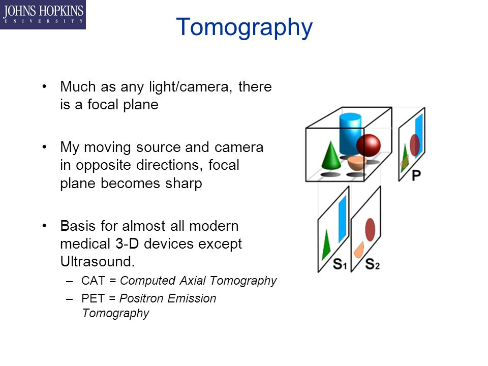 Tomography Much as any light/camera, there is a focal plane My moving source and camera in opposite directions, focal plane becomes sharp Basis for almost all modern medical 3-D devices except Ultrasound.