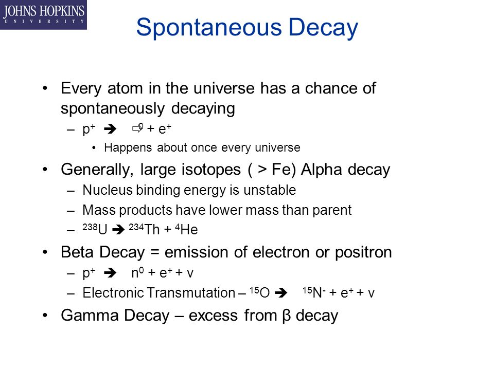 Spontaneous Decay Every atom in the universe has a chance of spontaneously decaying –p +  0 + e + Happens about once every universe Generally, large isotopes ( > Fe) Alpha decay –Nucleus binding energy is unstable –Mass products have lower mass than parent – 238 U  234 Th + 4 He Beta Decay = emission of electron or positron –p +  n 0 + e + + ν –Electronic Transmutation – 15 O  15 N - + e + + ν Gamma Decay – excess from β decay