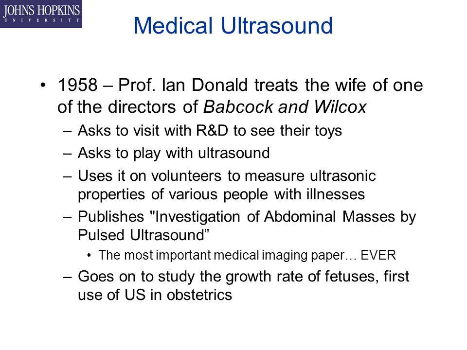 Medical Ultrasound 1958 – Prof.
