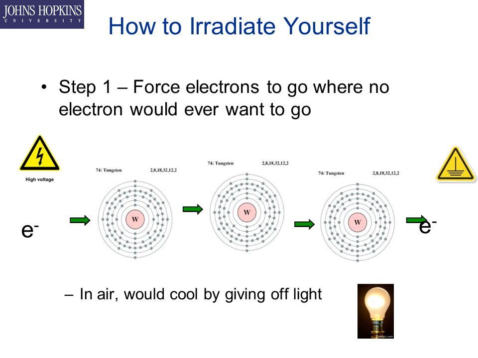 How to Irradiate Yourself Step 1 – Force electrons to go where no electron would ever want to go –In air, would cool by giving off light