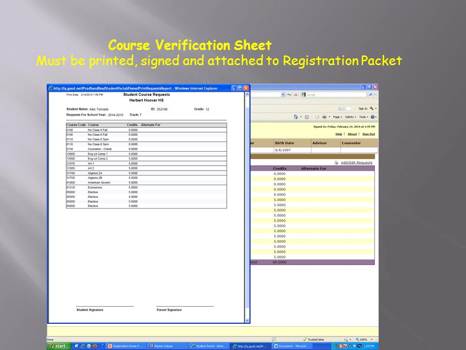 Course Verification Sheet Must be printed, signed and attached to Registration Packet