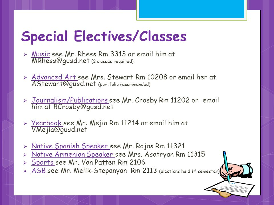 Special Electives/Classes  Music see Mr.