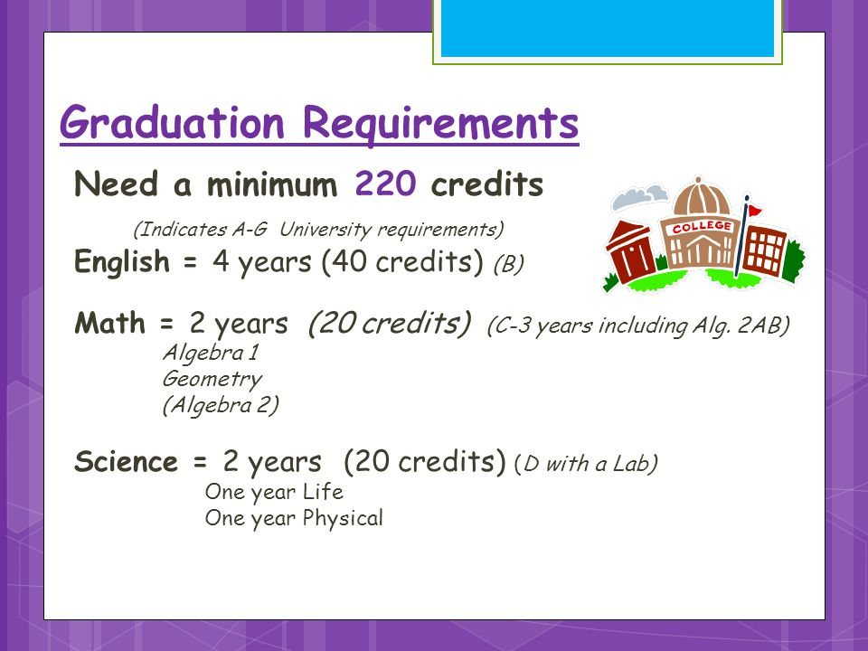 Need a minimum 220 credits (Indicates A-G University requirements) English = 4 years (40 credits) (B) Math = 2 years (20 credits) (C-3 years including Alg.