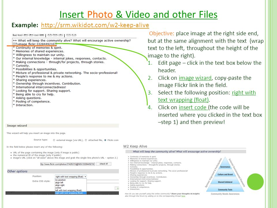 Insert Photo & Video and other Files Example:   Objective: place image at the right side end, but at the same alignment with the text (wrap text to the left, throughout the height of the image to the right).