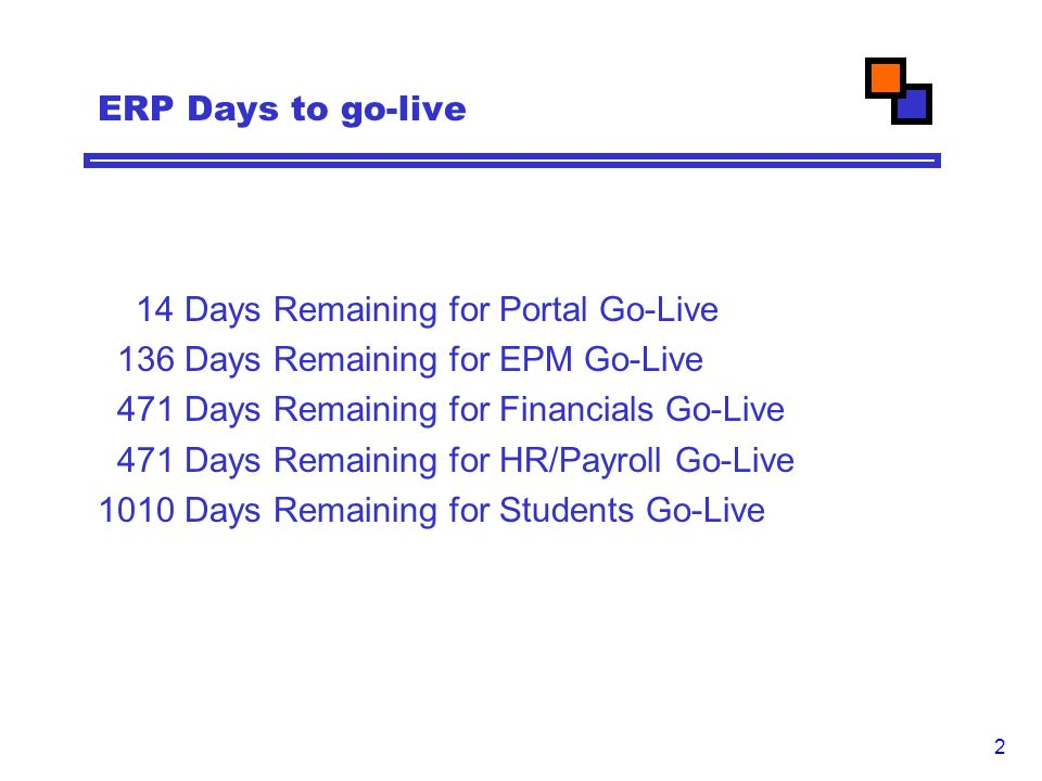 2 ERP Days to go-live 14 Days Remaining for Portal Go-Live 136 Days Remaining for EPM Go-Live 471 Days Remaining for Financials Go-Live 471 Days Remaining for HR/Payroll Go-Live 1010 Days Remaining for Students Go-Live