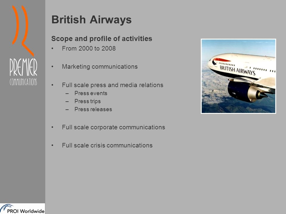 british airways corporate communications