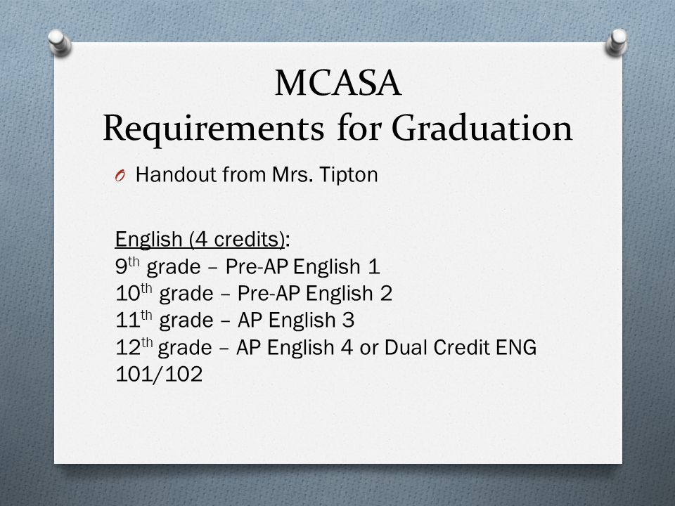 MCASA Requirements for Graduation O Handout from Mrs.