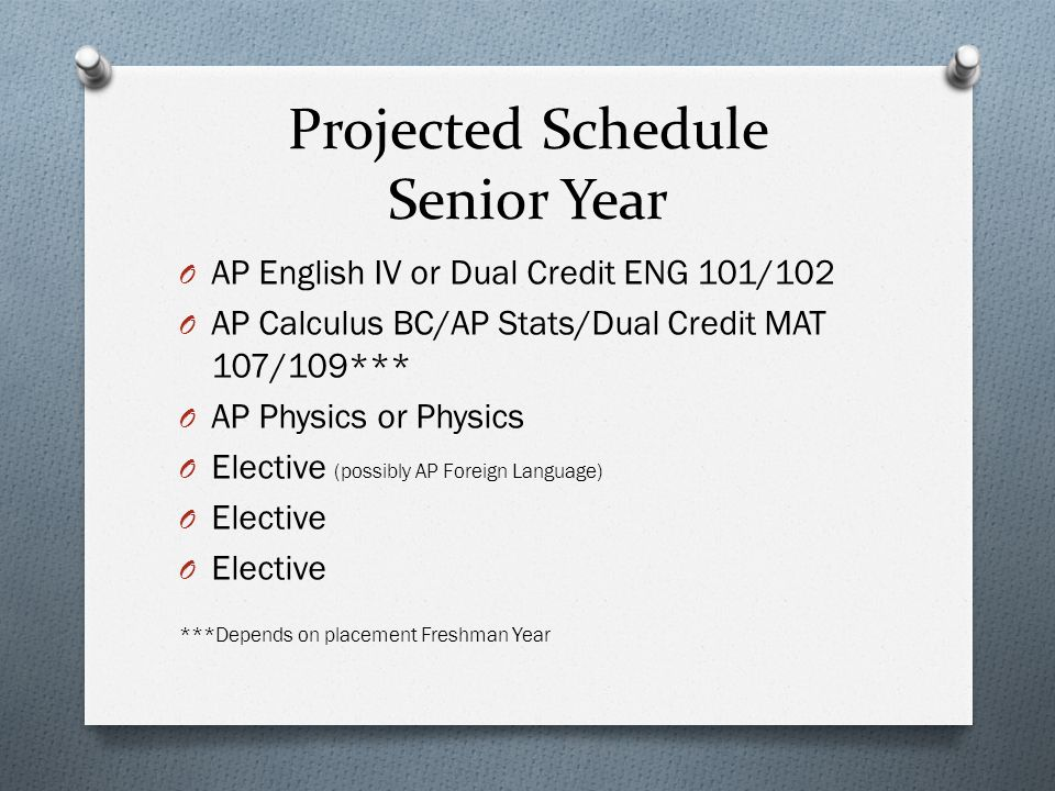 Projected Schedule Senior Year O AP English IV or Dual Credit ENG 101/102 O AP Calculus BC/AP Stats/Dual Credit MAT 107/109*** O AP Physics or Physics O Elective (possibly AP Foreign Language) O Elective ***Depends on placement Freshman Year