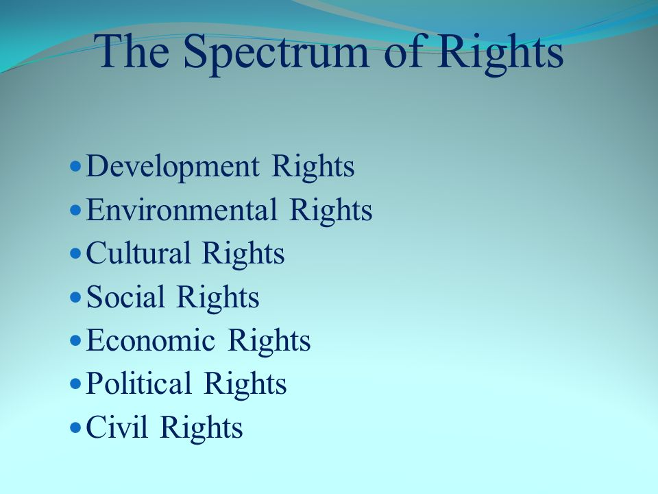 The Spectrum of Rights Development Rights Environmental Rights Cultural Rights Social Rights Economic Rights Political Rights Civil Rights