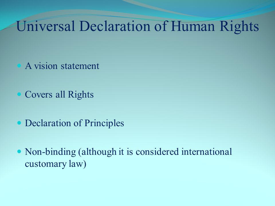 Universal Declaration of Human Rights A vision statement Covers all Rights Declaration of Principles Non-binding (although it is considered international customary law)