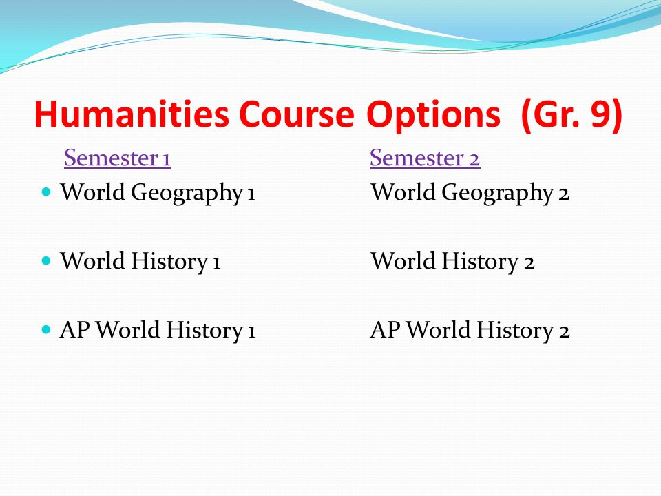 Humanities Course Options (Gr.