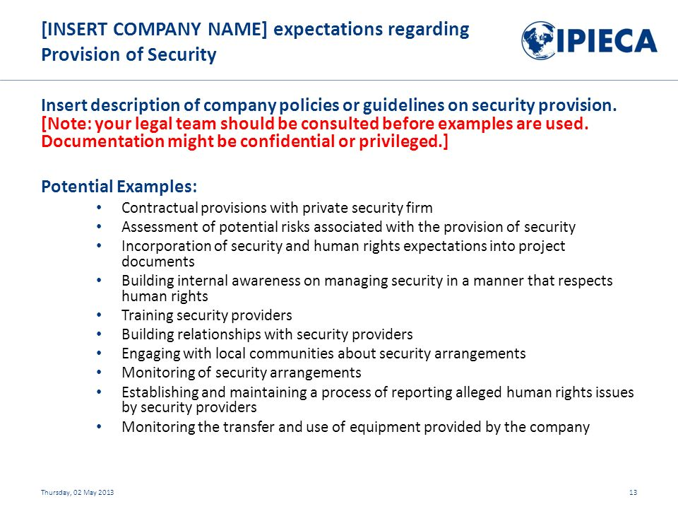 Insert description of company policies or guidelines on security provision.