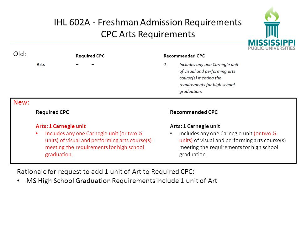 IHL 602A - Freshman Admission Requirements CPC Arts Requirements Old: Required CPCRecommended CPC Required CPC Arts: 1 Carnegie unit Includes any one Carnegie unit (or two ½ units) of visual and performing arts course(s) meeting the requirements for high school graduation.