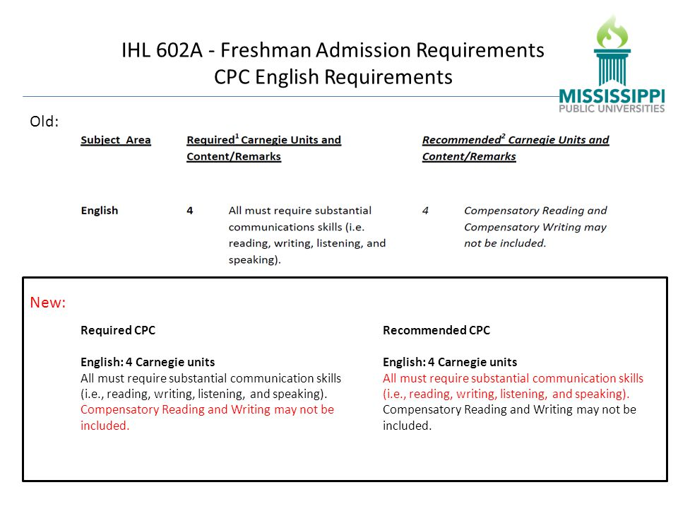 IHL 602A - Freshman Admission Requirements CPC English Requirements Old: New: Required CPC English: 4 Carnegie units All must require substantial communication skills (i.e., reading, writing, listening, and speaking).