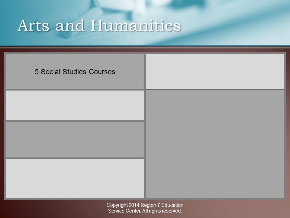 Arts and Humanities 5 Social Studies Courses Copyright 2014 Region 7 Education Service Center.