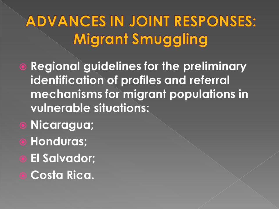  Regional guidelines for the preliminary identification of profiles and referral mechanisms for migrant populations in vulnerable situations:  Nicaragua;  Honduras;  El Salvador;  Costa Rica.