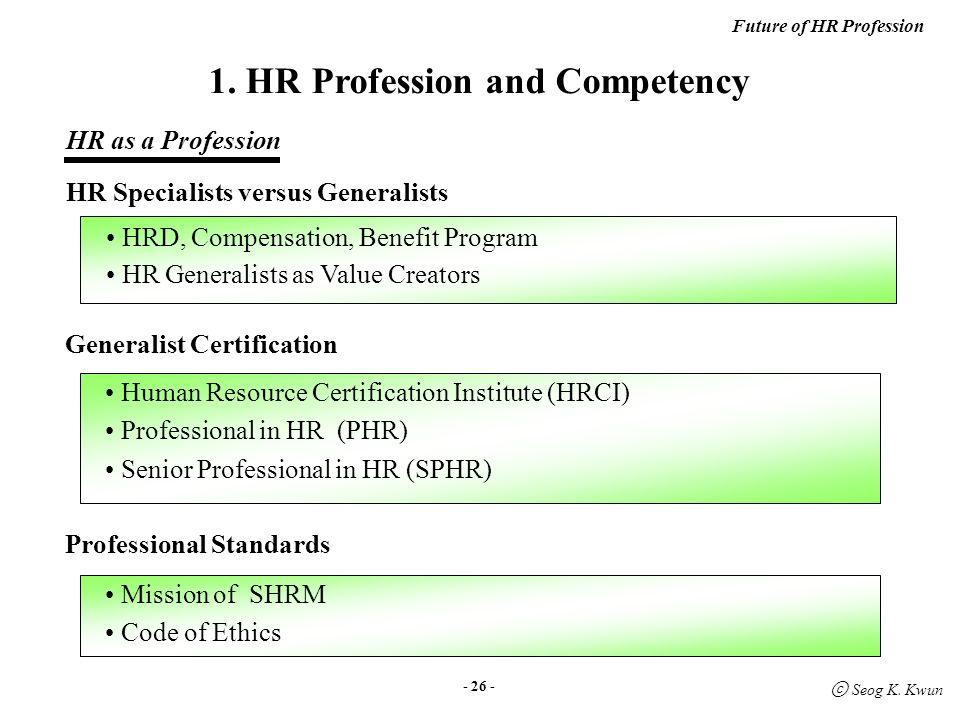 Future of HR Profession ⓒ Seog K  Kwun 권 석 균 ( 한국외대