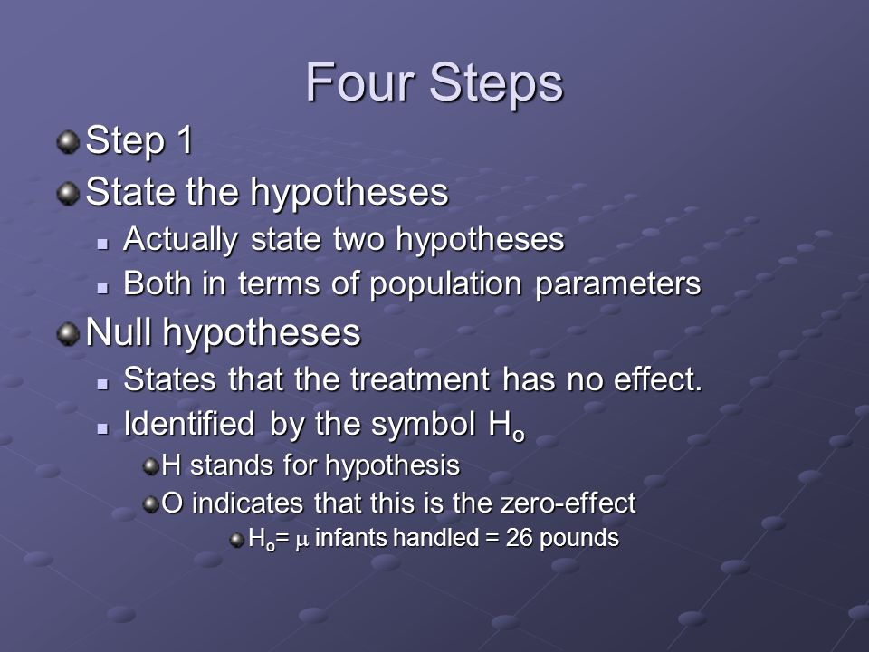 Four Steps Step 1 State the hypotheses Actually state two hypotheses Actually state two hypotheses Both in terms of population parameters Both in terms of population parameters Null hypotheses States that the treatment has no effect.