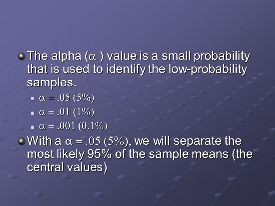 The alpha (  ) value is a small probability that is used to identify the low-probability samples.