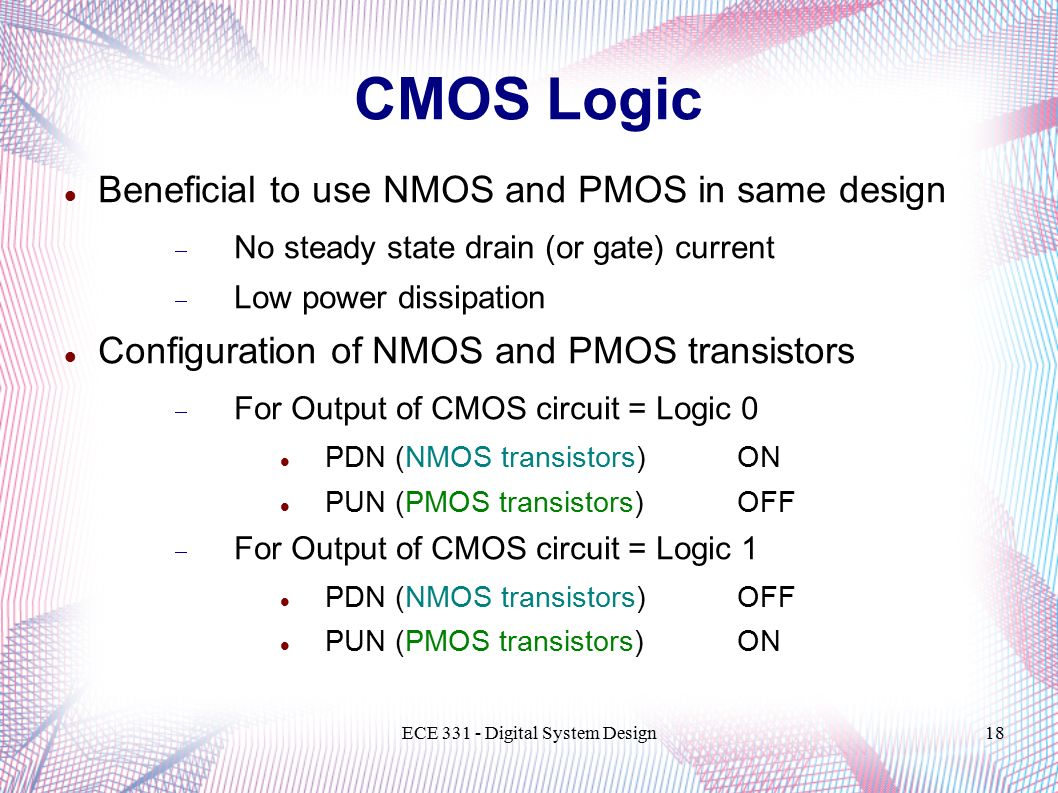 Ece 331 Digital System Design Transistor Technologies And Circuit To Use Nmosfet Instead Of Pmosfet Electrical Engineering 18 Design18 Cmos Logic Beneficial Nmos