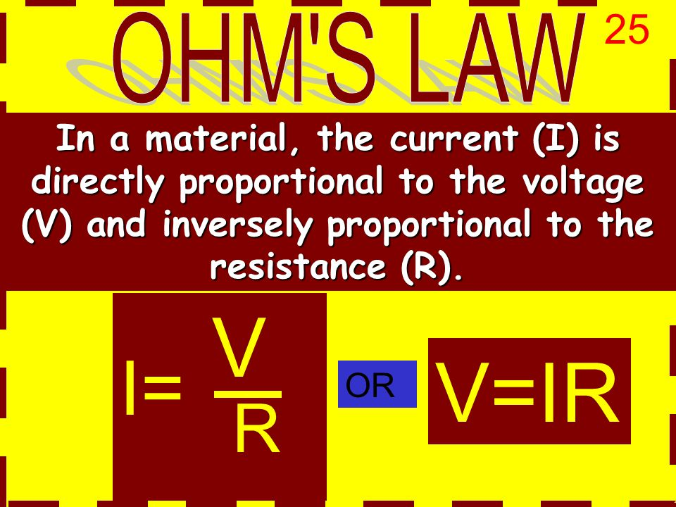 V=IR In a material, the current (I) is directly proportional to the voltage (V) and inversely proportional to the resistance (R).