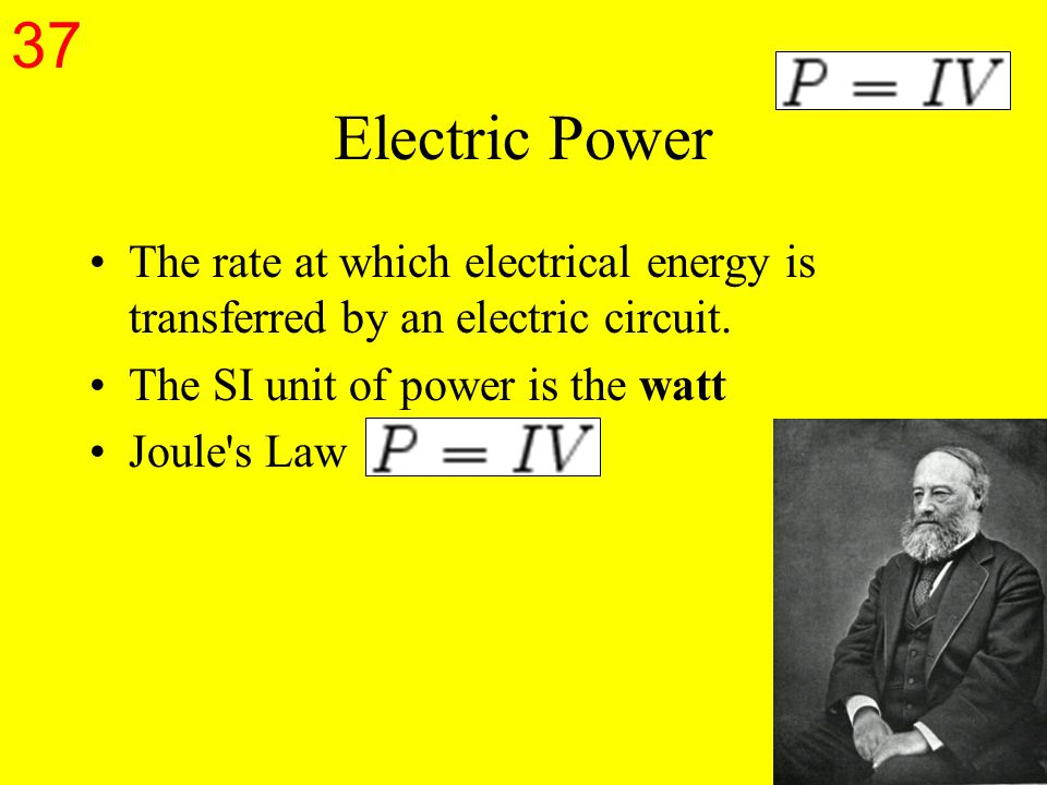 Electric Power The rate at which electrical energy is transferred by an electric circuit.