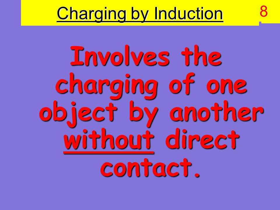 Charging by Induction Involves the charging of one object by another without direct contact. 9 8