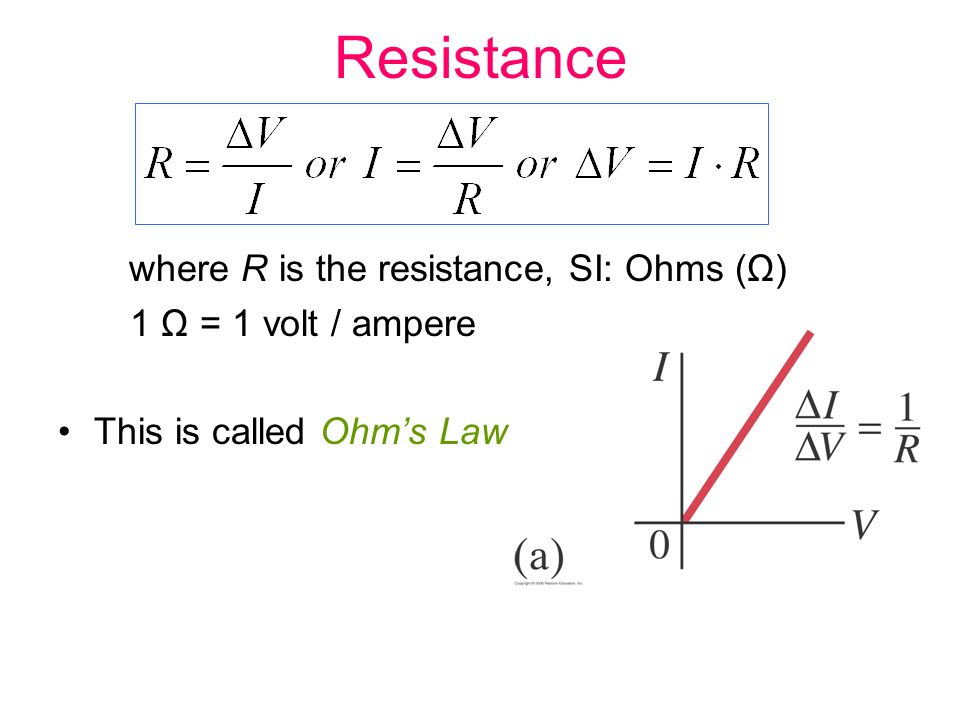 Resistance where R is the resistance, SI: Ohms (Ω) 1 Ω = 1 volt / ampere This is called Ohm's Law