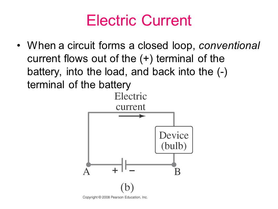 Electric Current When a circuit forms a closed loop, conventional current flows out of the (+) terminal of the battery, into the load, and back into the (-) terminal of the battery