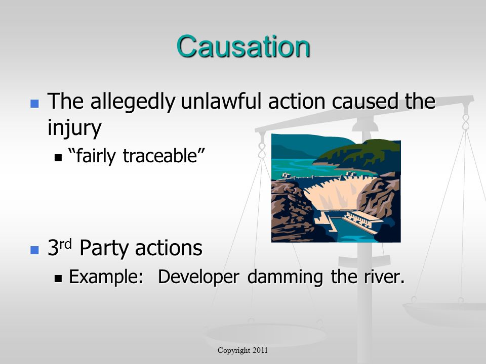 Causation The allegedly unlawful action caused the injury The allegedly unlawful action caused the injury fairly traceable fairly traceable 3 rd Party actions 3 rd Party actions Example: Developer damming the river.