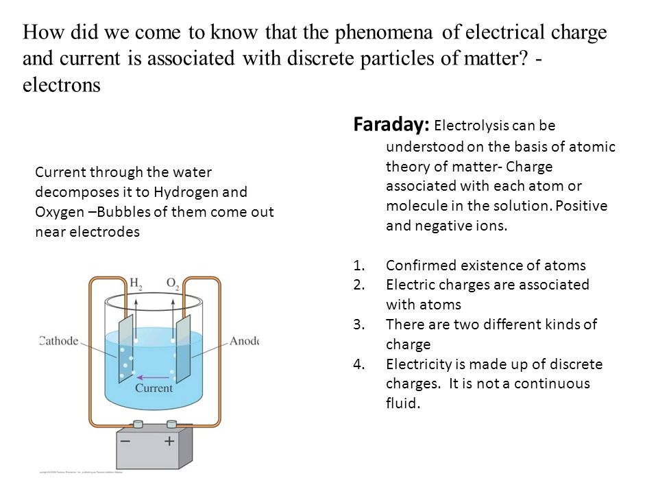 How did we come to know that the phenomena of electrical charge and current is associated with discrete particles of matter.