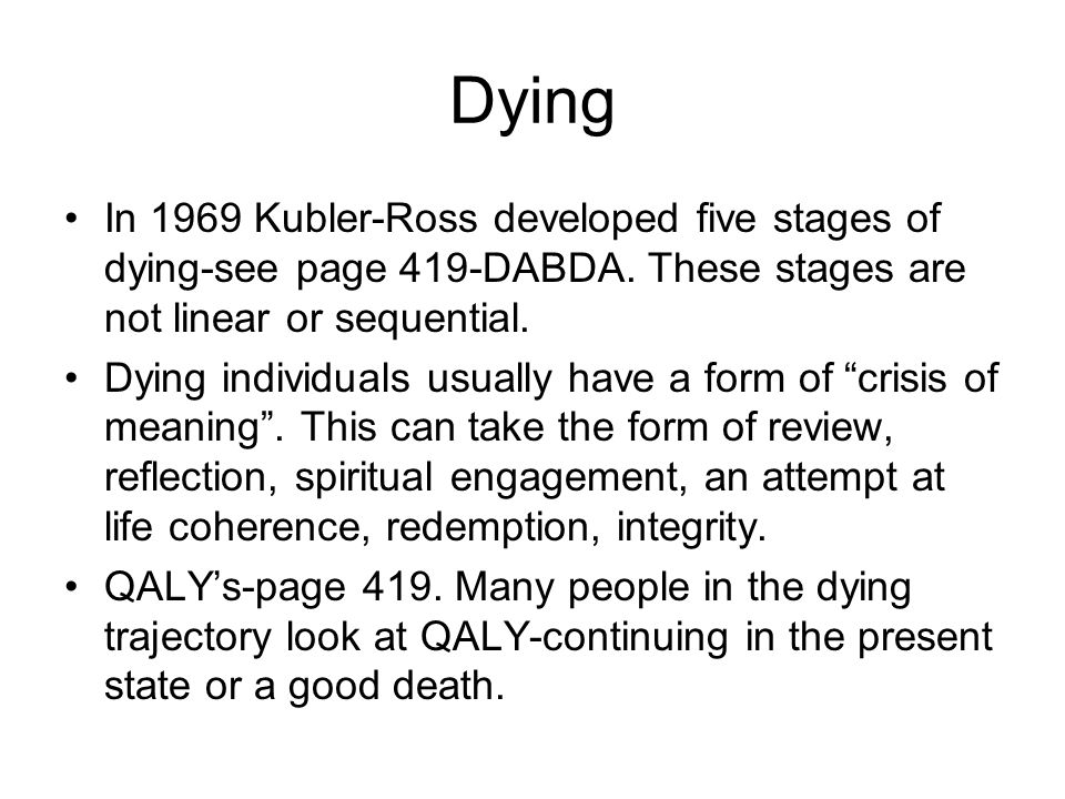 Physical stages of dying