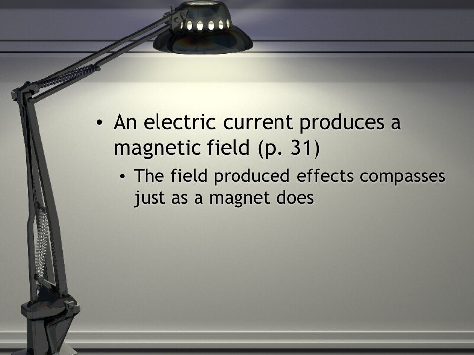 An electric current produces a magnetic field (p.