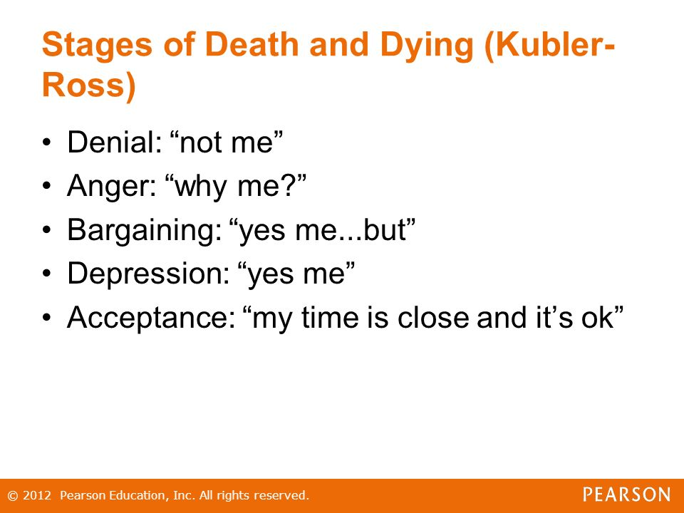 Stages of Death and Dying (Kubler- Ross) Denial: not me Anger: why me Bargaining: yes me...but Depression: yes me Acceptance: my time is close and it's ok © 2012 Pearson Education, Inc.