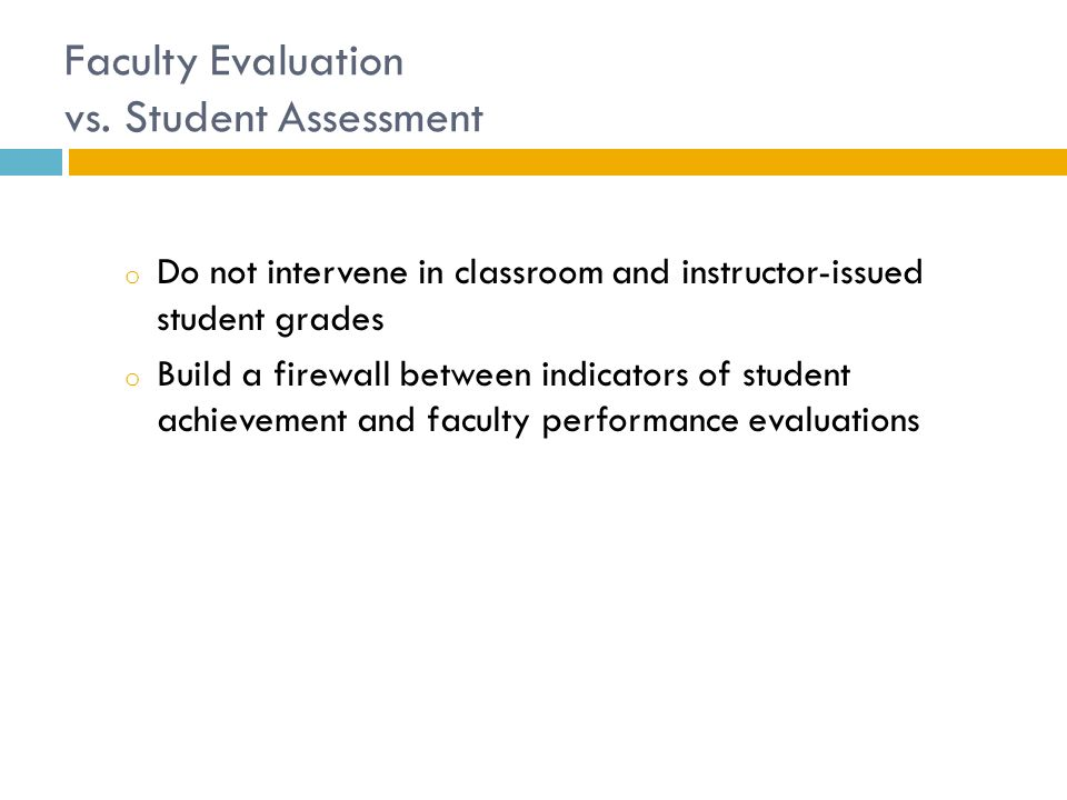 Faculty Evaluation vs.