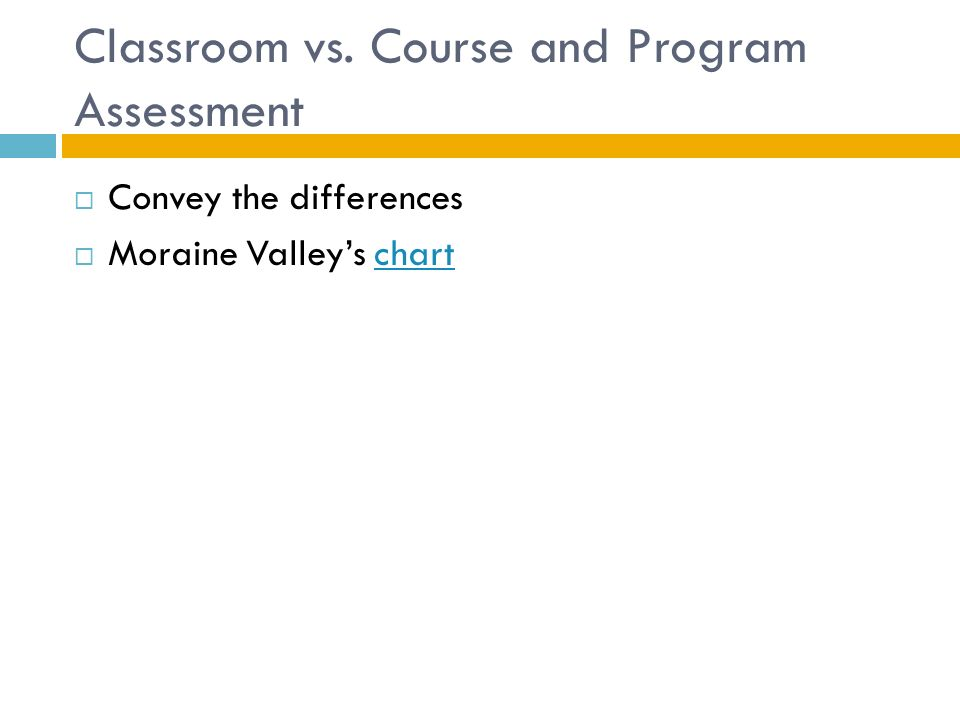 Classroom vs. Course and Program Assessment  Convey the differences  Moraine Valley's chartchart