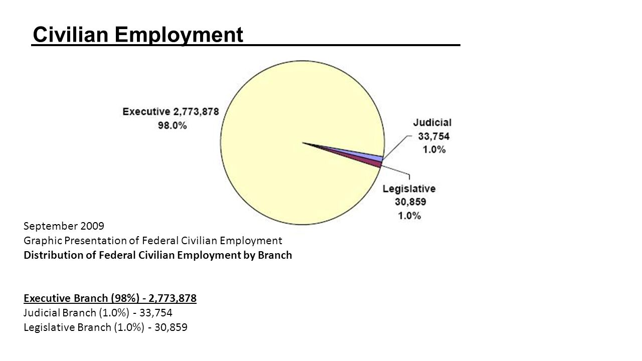 Civilian Employment  September 2009 Graphic Presentation of Federal Civilian Employment Distribution of Federal Civilian Employment by Branch Executive Branch (98%) - 2,773,878 Judicial Branch (1.0%) - 33,754 Legislative Branch (1.0%) - 30,859
