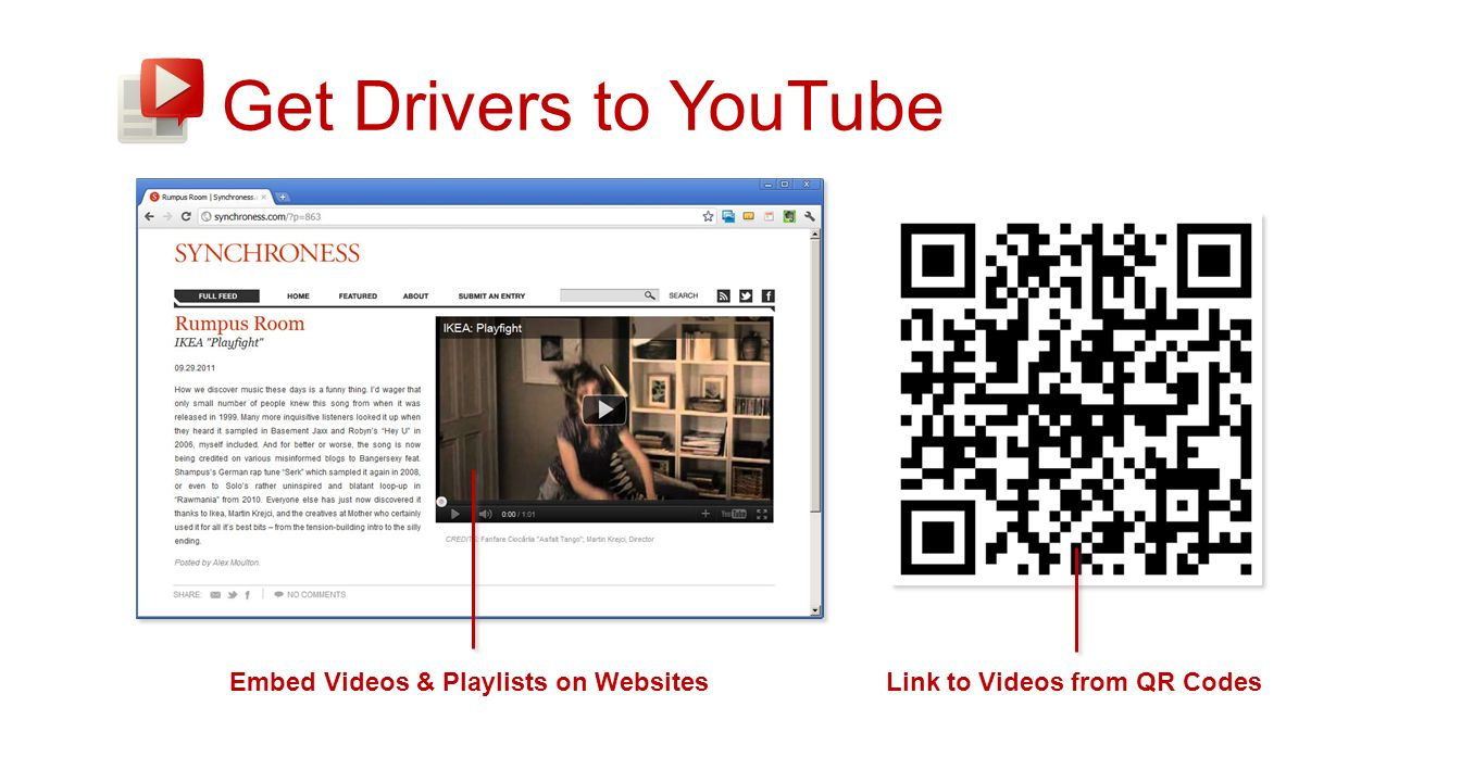 Get Drivers to YouTube Embed Videos & Playlists on WebsitesLink to Videos from QR Codes