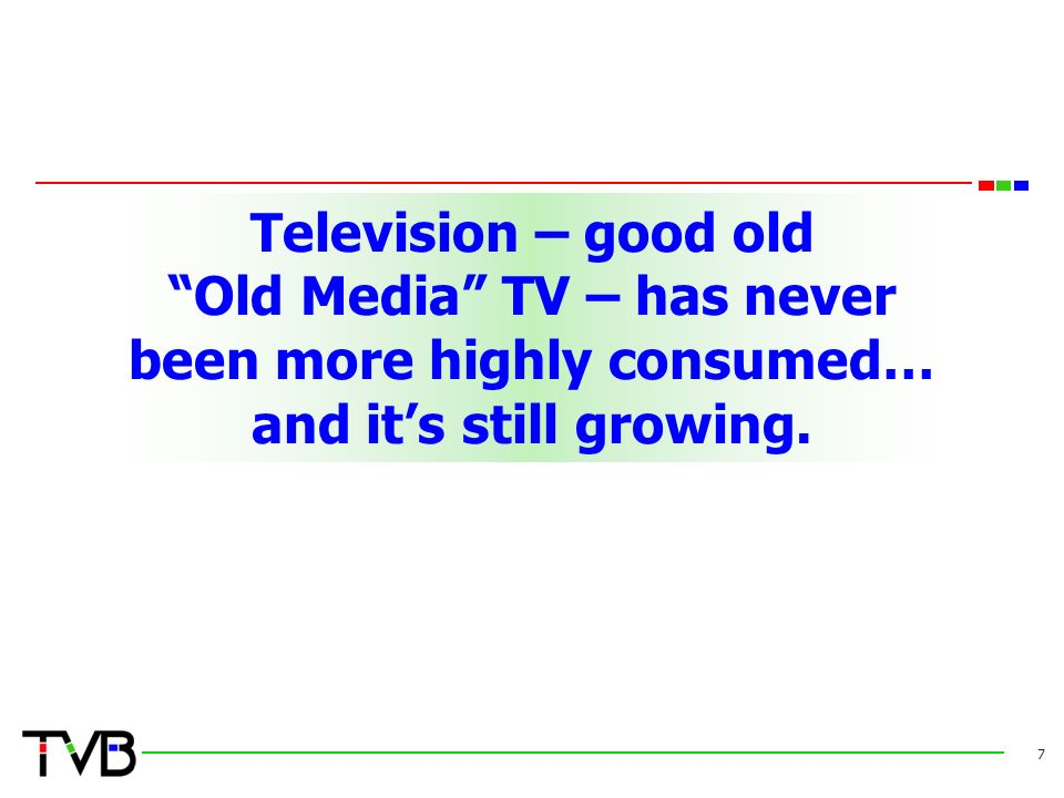 Television – good old Old Media TV – has never been more highly consumed… and it's still growing.