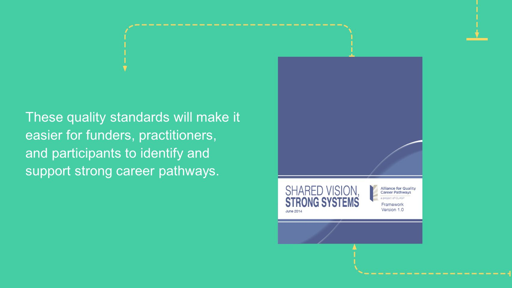 These quality standards will make it easier for funders, practitioners, and participants to identify and support strong career pathways.
