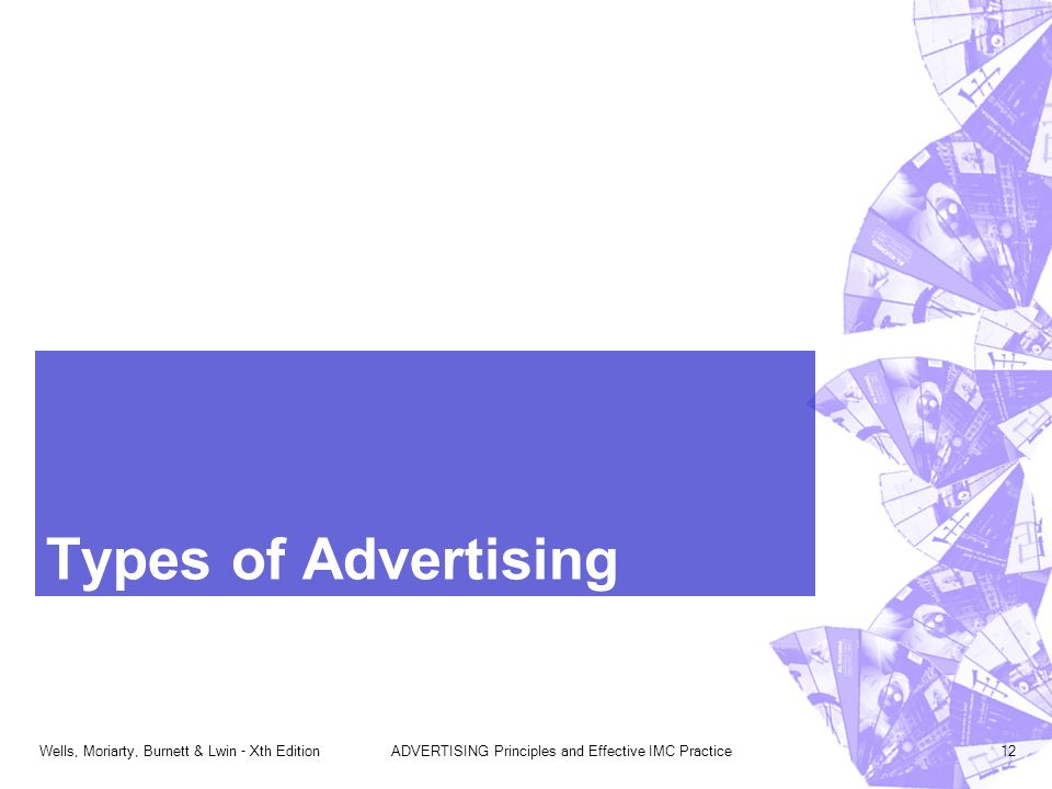 Wells, Moriarty, Burnett & Lwin - Xth EditionADVERTISING Principles and Effective IMC Practice12 Types of Advertising
