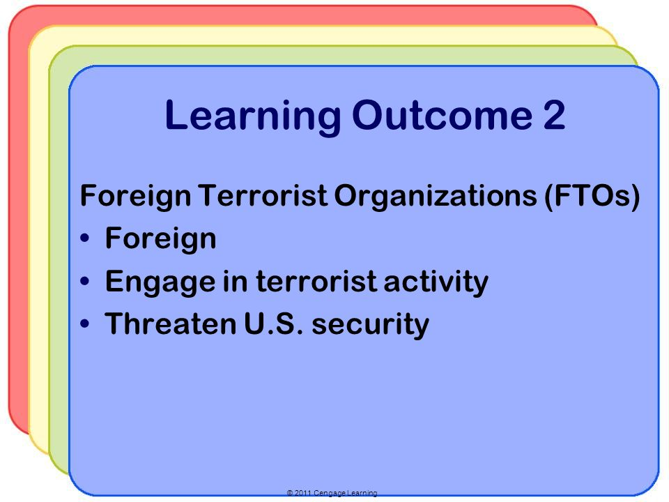© 2011 Cengage Learning Learning Outcome 2 Foreign Terrorist Organizations (FTOs) Foreign Engage in terrorist activity Threaten U.S.