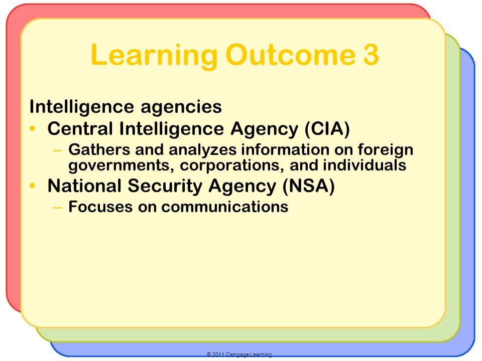 © 2011 Cengage Learning Learning Outcome 3 Intelligence agencies Central Intelligence Agency (CIA) – Gathers and analyzes information on foreign governments, corporations, and individuals National Security Agency (NSA) – Focuses on communications